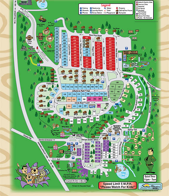 Campground Map for Jellystone Mill Run in Laurel Highlands of PA