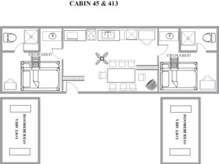 Cindy Bear Double Loft Cabin - Jellystone Mill Run - Vacation cottage floor plan 43 and 413 in PA
