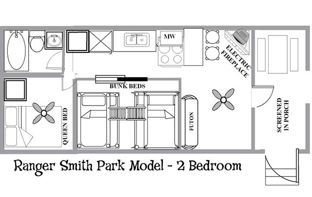 Ranger smith park model 2 bedroom yogi bear 39 s for Floor plans with photos