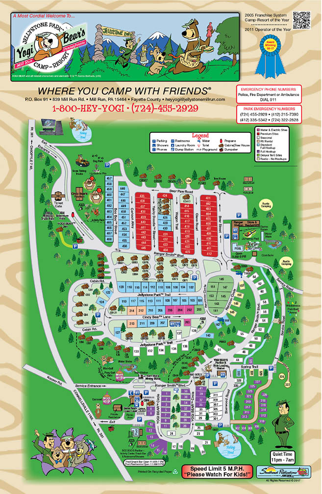 2018 sitemap for Yogi Bears Jellystone Park at Mill Run PA a beautiful campground near Pittsburgh PA