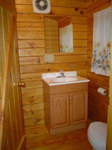 bathroom at Boo Boos 1 bedroom cabin - vacation rental at Pittsburgh PA - Yogi Bears Jellystone Park at Mill Run PA