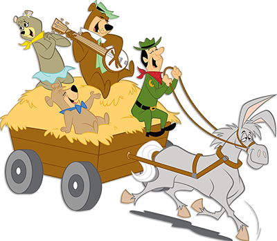 yogi bear and friends on a wagon ride