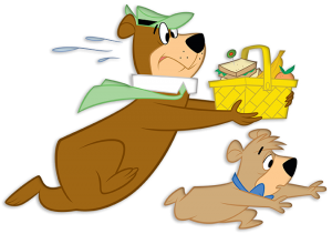 yogi bear and boo boo running away with a picnic basket