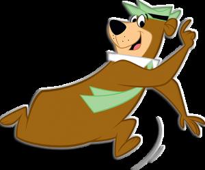 yogi bear running and pointing