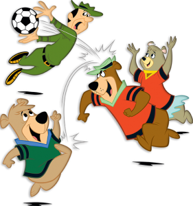 yogi bear and friends playing soccer
