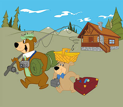yogi bear and boo boo going fishing with a cabin in the background