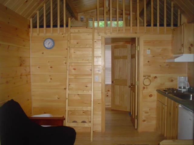 interior area of cindy bear single loft cabin